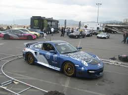 modified porsche 911 modified blue 997 porsche 911 turbo at 2009 gumball 3000 2