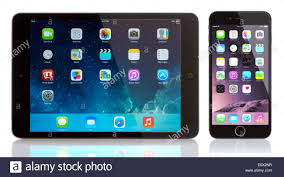 The Home Technology Store Ipad Mini And Iphone 6 On White Apple Ios 8 Applications On The