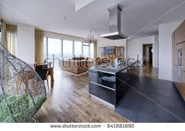 interior design kitchen living room interior modern loft kitchen living room stock photo 143957482