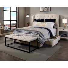 King Headboard With Storage Republic Design House Archer Ivory Tufted Upholstered King Cal