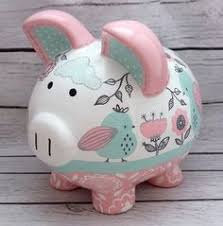 Baptism Piggy Bank Boy Baptism Piggy Bank Hand Painted And Personalized Custom