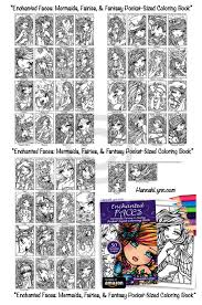 pdf enchanted faces pocket size coloring book instant download