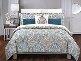 nicole miller 3 piece cotton king size duvet cover set blue red