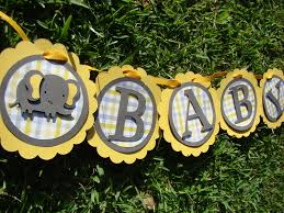 elephant baby shower banner yellow and gray by pearlyskies on etsy