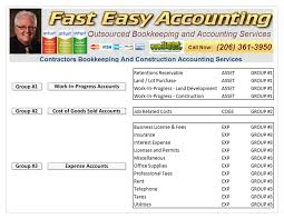 Quickbooks Chart Of Accounts Excel Template Construction Company Bookkeeping For Contractors All Across The
