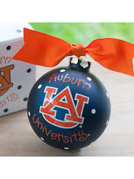4 auburn university logo glass keepsake ornament with gift box