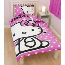 cool comforter sets with lovely pink hello kitty motif with simple