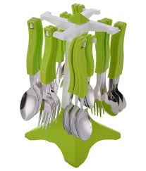 cutlery set with stand floraware 24 pcs plastic cutlery set with stand buy online at