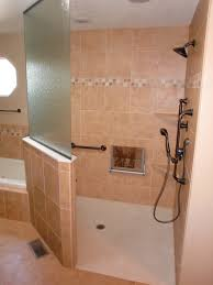 interior nice brown accessible bathroom design with corner shower