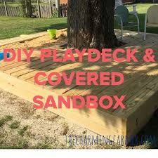 Backyard Sandbox Ideas Covered Sandbox U0026 Playdeck Hometalk