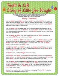 left right christmas elf story bootcampgames holiday theme