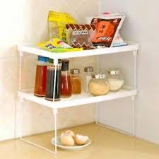 kitchen cabinet storage containers details about 1 tier foldable shelf kitchen cabinet storage stackable cupboard rack organizer