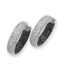 white gold hoop earrings 14k white gold black white diamond in out hoop earrings