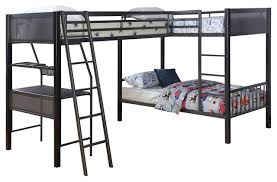 Jakks Metal Twin LShape Study LoftBunk For  Transitional - Study bunk bed