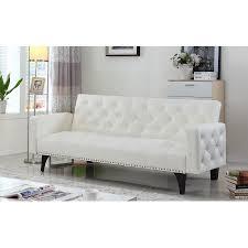 white leather futon sofa modern tufted bonded leather sleeper futon sofa with nailhead trim