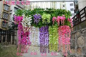 wholesale silk flower artificial flower wisteria vine rattan for