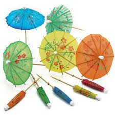 30 pieces retro mixed color mini paper umbrellas for cake drinks