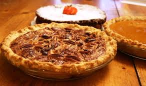 a cake bakes in the pecan pie
