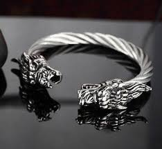 dragon bracelet silver images Stainless steel twisted cable dragon open bangle ancient explorers jpg