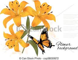 flower background with three beautiful lilies and butterfly
