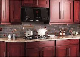 red backsplash tiles kitchen cabinet pink granite countertop