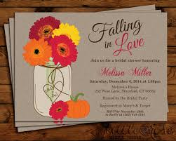 fall flowers jar bridal shower invitation thanksgiving