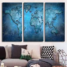 Wall Art World Map by 3 Panel Wall Art Blue Abstract World Map Print On Canvas Ash