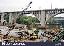 view of the remains of the i 35 bridge collapse and recovery