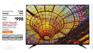 black friday sams club 70 inch lg 70uh6350 4k ultra hd smart tv sam u0027s club black friday