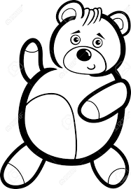 illustration of cute teddy bear cartoon character for coloring