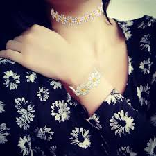 lace daisy flower chain tattoo choker necklace bracelet for women