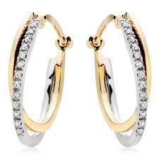 gold hoops earrings 9ct gold diamond hoop earrings 0007949 beaverbrooks the jewellers