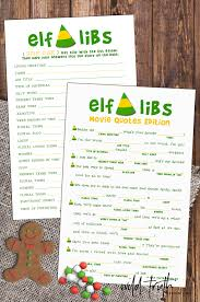 elf christmas party game buddy the elf movie quotes mad lib