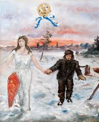 the angel and the lumberjack sketch for mural by hugo simberg on