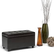 office storage ottoman amazon com simpli home cosmopolitan faux leather rectangular