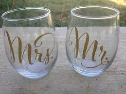 wine glass gifts mr and mrs stemless wine glasses wedding wine glasses wedding