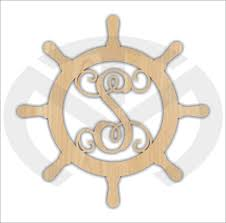 initial home decor unfinished wood ship wheel monogram door hanger laser cutout with