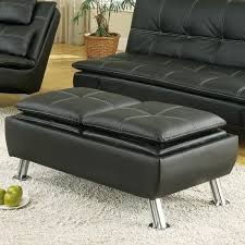 black leather storage ottoman with tray coaster 300283 black faux leather storage ottoman reversible tray