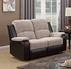 Recliner Sofa Suite Beige Brown Reclining Fabric Material 2 Seater Recliner Sofa