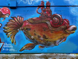 free images wall red vehicle blue fish graffiti painting wall red vehicle biology blue fish graffiti painting street art art illustration mural modern art acrylic