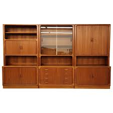 set of three midcentury danish teak wall unit bookcase shelving