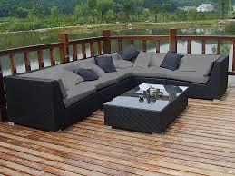 canap r sine salon d angle de jardin en r sine tress e nuances gris 7 places