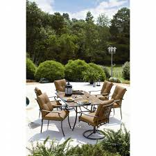 Oasis Outdoor Patio Furniture Garden Oasis Emery 7 Piece Cushion Dining Set Golden Brown