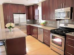 pretty cardinal red color mahogany wood kitchen cabinets comes