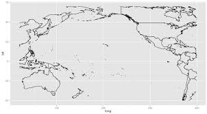 World Continents And Oceans Map by R Plot Pacific Ocean And Continents With Ggplot2 Borders