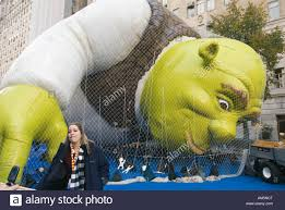 shrek balloon being blown up the day prior to the macy s