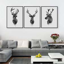 home decor wall posters triptyque aquarelle cerf tête a4 affiche imprimer abstrait animal