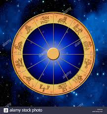 astrology wheel with all signs of the zodiac stock photo royalty