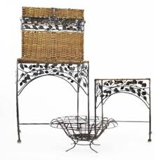 wicker and iron nesting tables trunk and wire basket ebth