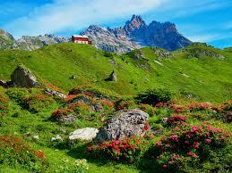 mountains house mountain hills grass rest slope landscape rocks
